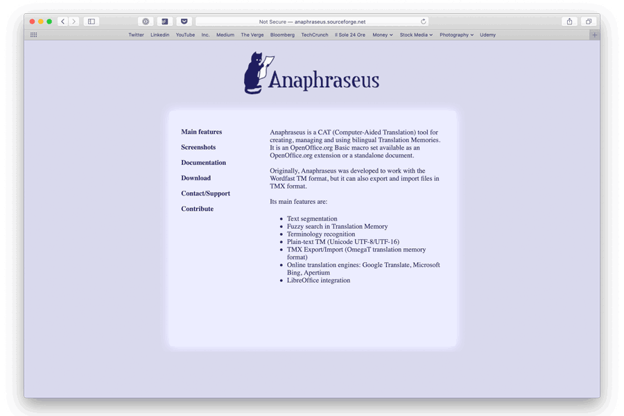 free cat tool home page screenshot for anaphraseus