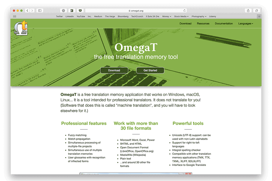 screenshot of free CAT tool for Mac OmegaT home page