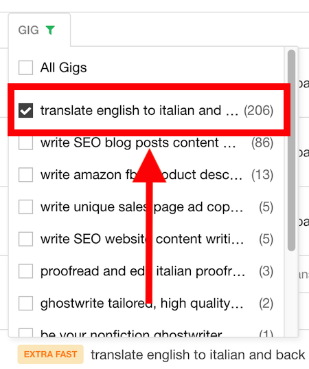 screenshot showing fiverr translation gig orders example