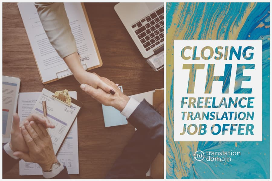 thumbnail showcasing a handshake to close a freelance translation job offer